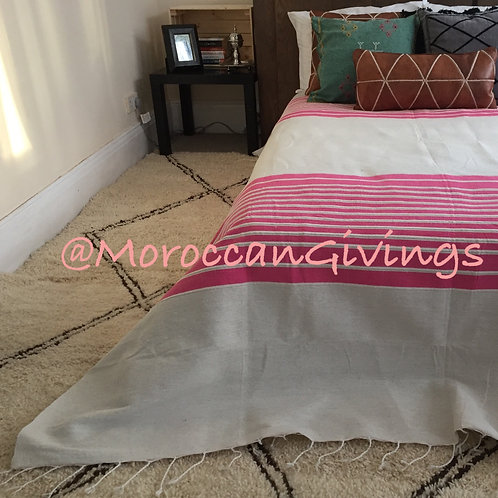 Handwoven Blanket, Manta White with Pink (PB071)