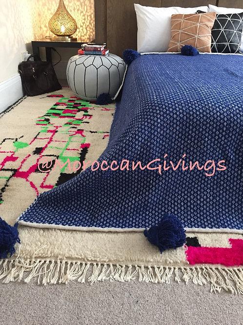 Pom Pom Blanket, Spike design, Blue (SD104)