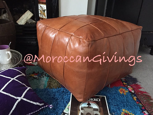 XXL Tally Square design Leather Pouffe (TD130)