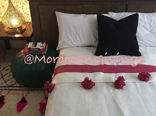 Moroccan Handwoven Pom Pom Blanket ( PB058)