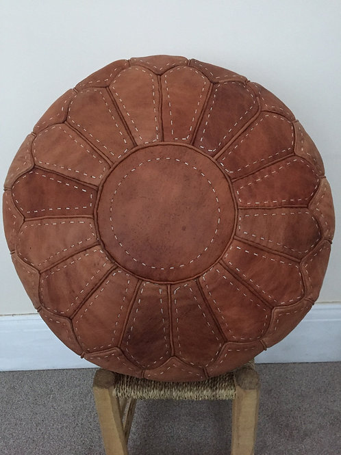 Handcrafted Contemporary Leather Pouffe (RP201)