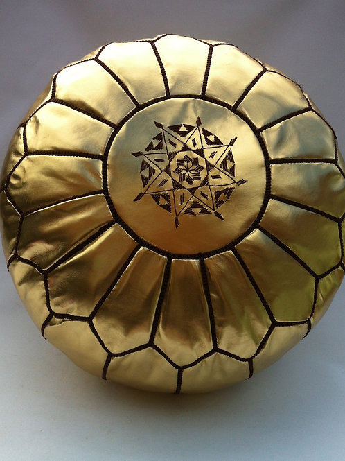 Faux Leather Pouffe Gold w.Brown embroidery (P305)