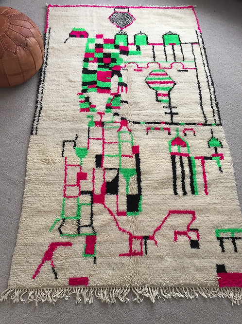 Colorful Handwoven Azilal Rug, pure Wool (AZC30)