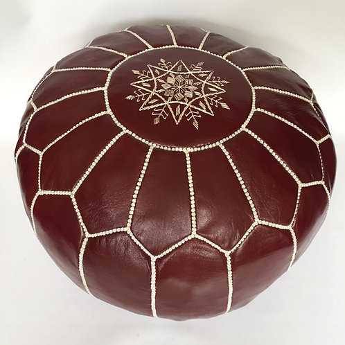 Leather Poufe Plum with white embroidery (p401)
