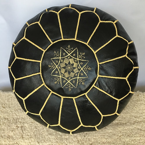 Leather Black Pouffe with Yellow embroidery (P412)