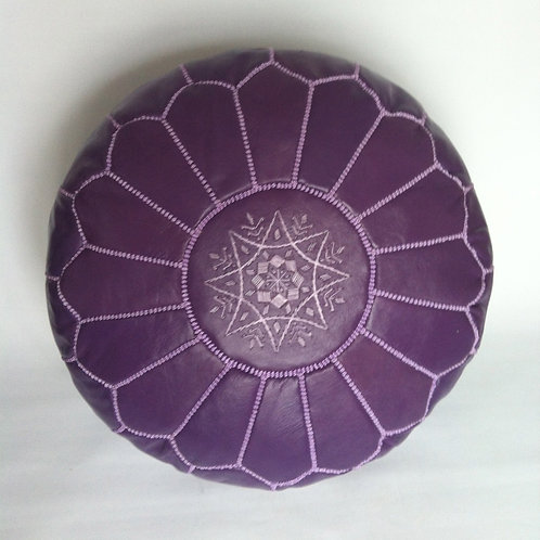 Leather Pouffe Purple (P409)