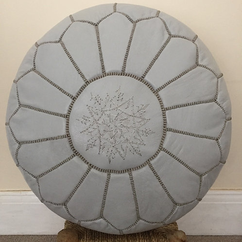 Leather Pouffe light Grey w.Grey embroidery (p404)
