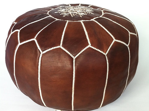 Leather Pouffe Chocolate Brown (P419)