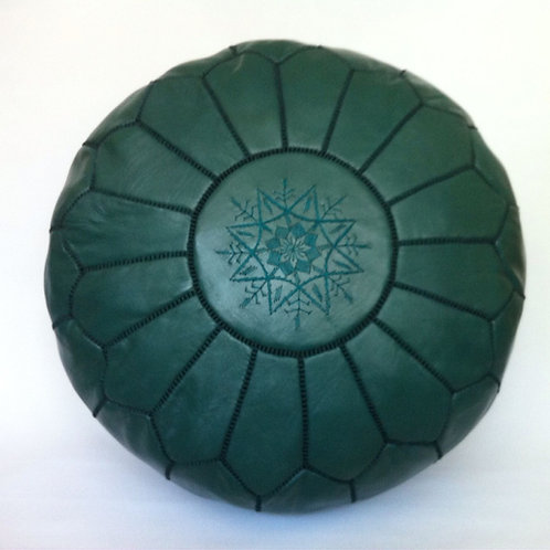 Leather Pouffe Dark Turtle Green (P406)