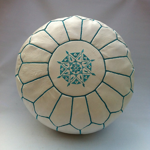 White Pouffe with Turquoise embroidery (P422)