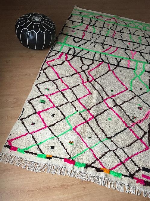 Colorful Handwoven Azilal Rug, pure Wool (005AZ18)