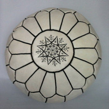 Leather White Pouffe with Black embroidery (P421)