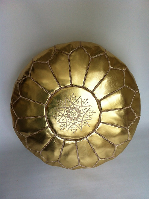 Faux Leather Pouffe Gold w. Gold embroidery (P304)