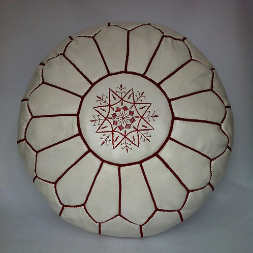 Leather White Pouffe with Red embroidery (P424)