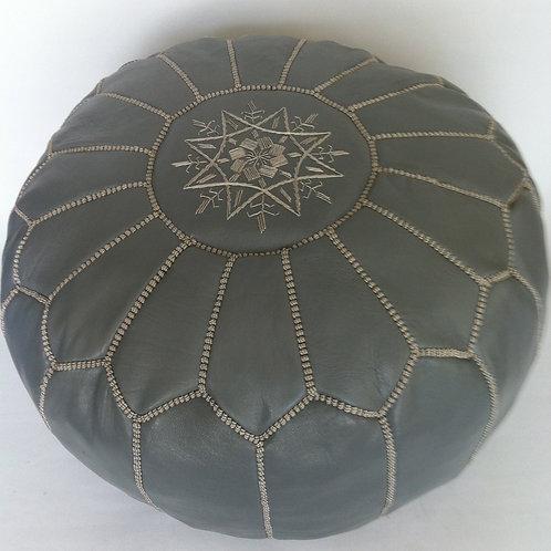 Leather Pouffe Dark Grey w. Grey embroidery (p408)