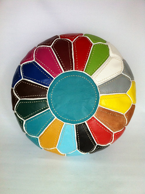 Multi Colour Pouffe with White lines (RP210)