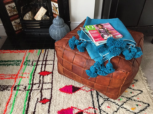 XXL Tally Square design Leather Pouffe (TD134)
