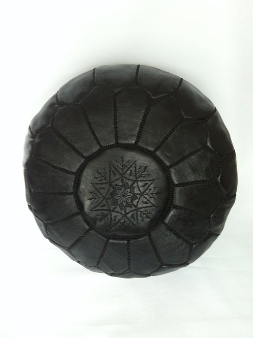 Leather Black Pouffe with Black embroidery (P413)