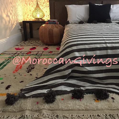 Moroccan Handwoven Pom Pom Blanket ( PB053)