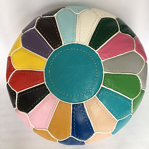 Multi Colour Pouffe with White lines (RP214)