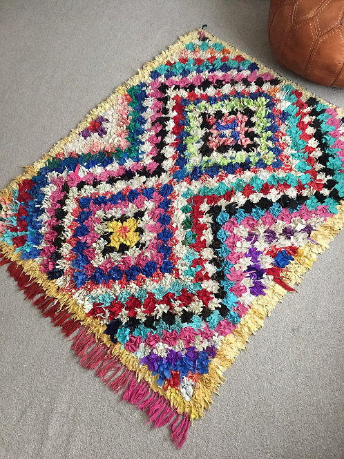 Moroccan Colorful Boucherouite Rug