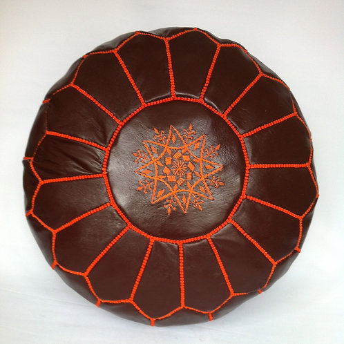 Leather Pouffe Brown with Orange embroidery (P417)