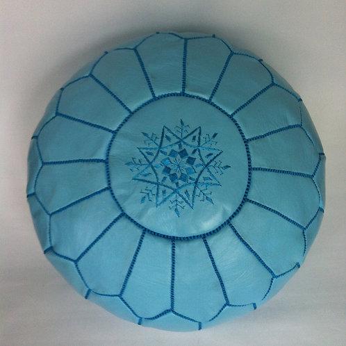 Leather Pouffe Sky Blue (P403)