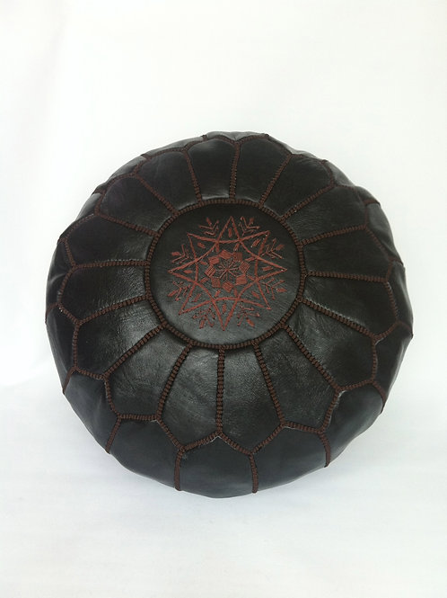 Leather Pouffe  Black with Brown Embroidery (P415)