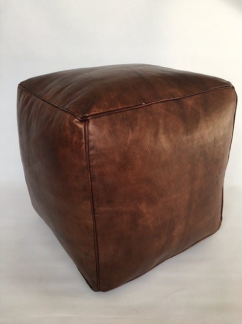 Moroccan Cube design Pouffe,Leather (PC330)