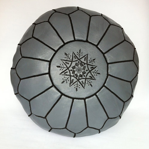 Leather Pouffe Dark Grey w.Black embroidery (p407)
