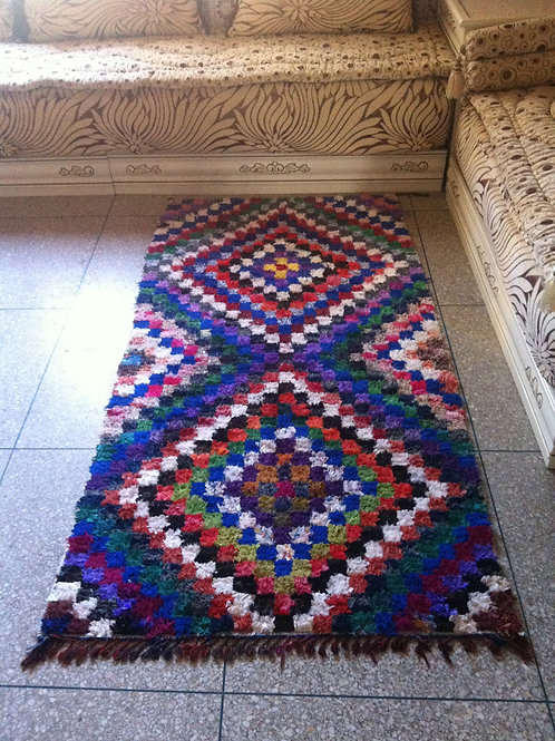 Moroccan Colorful Boucherouite Rug Rag