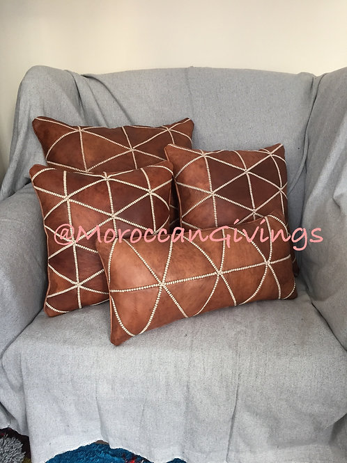 Moroccan Handcrafted Leather Square Cushion Cover