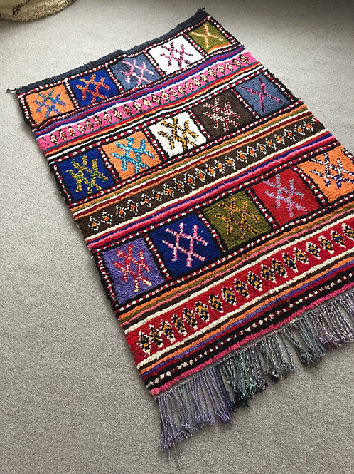 Colorful Handwoven Azilal Rug, pure Wool