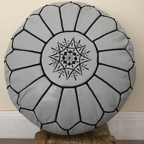 Leather Pouffe light Grey w.Black embroidery(P405)