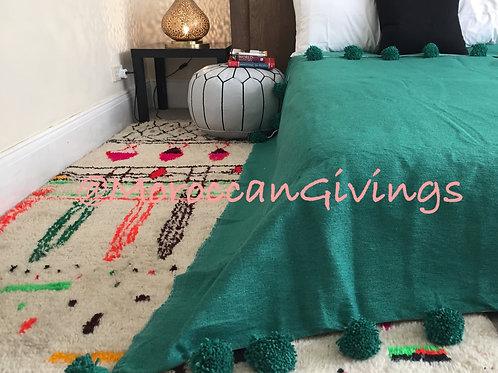 Moroccan Handwoven Pom Pom Blanket ( PB064)