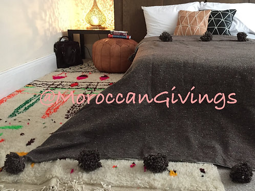 Moroccan Handwoven Pom Pom Blanket ( PB062)