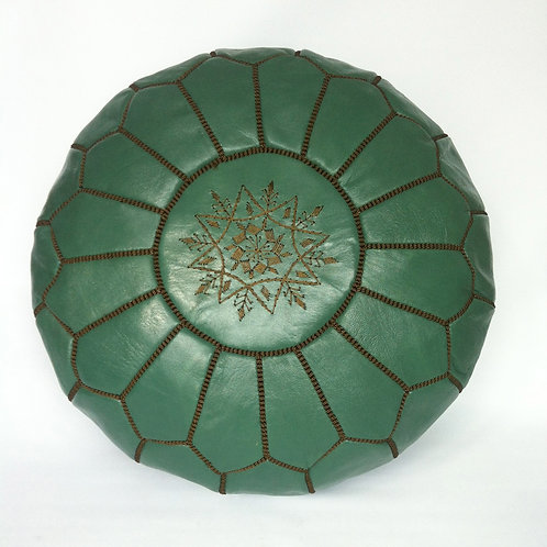 Leather Pouffe color Spanish Green (p416)