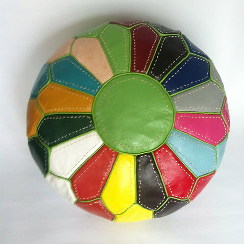 Multi Colour Pouffe with Green lines (RP211)