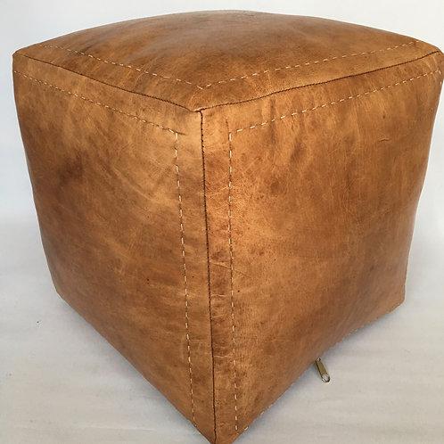Moroccan Cube design Pouffe,Leather (PC332)