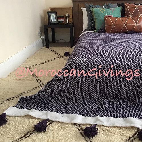 Pom Pom Blanket, Spike design, Purple (SD100)