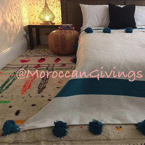 Moroccan Handwoven Pom Pom Blanket ( PB059)