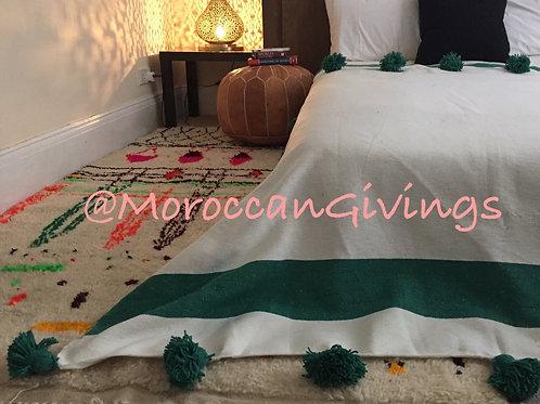 Moroccan Handwoven Pom Pom Blanket ( PB061)