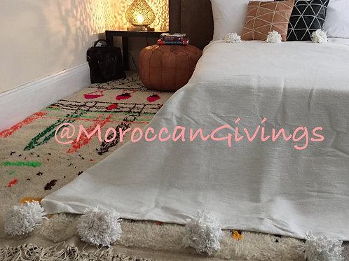 Moroccan Handwoven Pom Pom Blanket ( PB067)