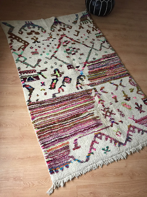 Colorful Handwoven Azilal Rug, pure Wool (007AZ18)