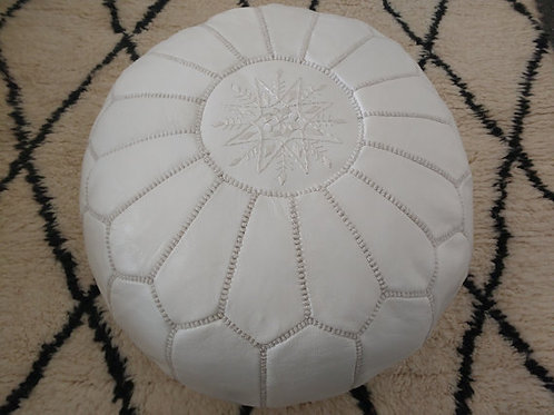 Leather White Pouffe with White embroidery (P423)