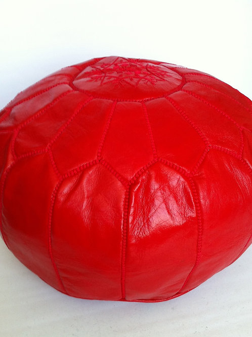 Leather Red  Pouffe (P411)