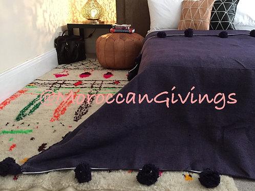 Moroccan Handwoven Pom Pom Blanket ( PB066)