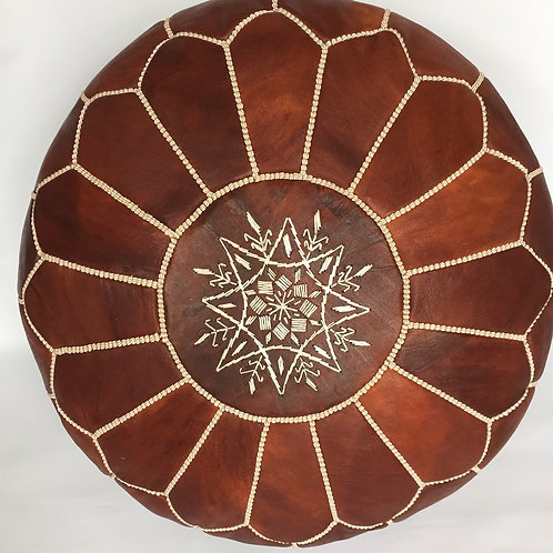 Leather Pouffe Chestnut (P427)