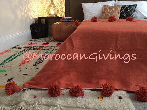 Moroccan Handwoven Pom Pom Blanket ( PB063)