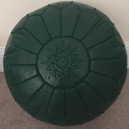 Leather Pouffe Dark Spanish Green (P400)